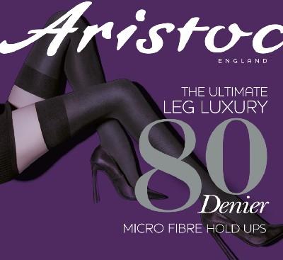 Kryjące pończochy samonośne z mikrofibry 80 DEN marki Aristoc, czarne, rozm. S/M