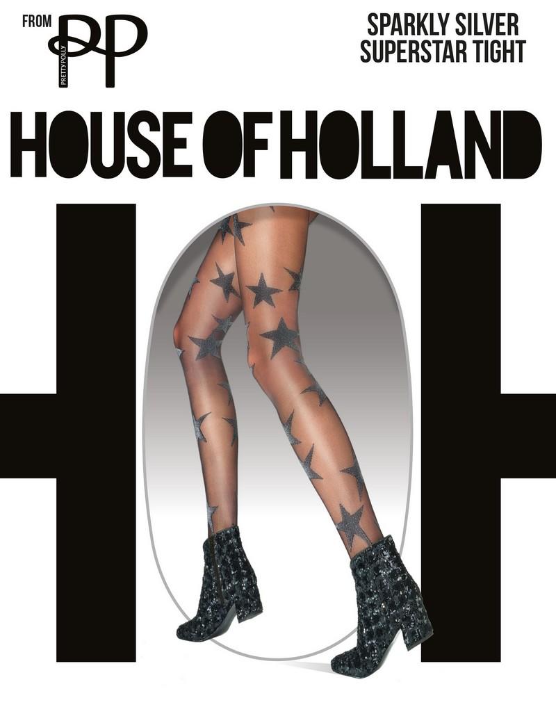 Rajstopy w połyskujące gwiazdki Sparkly Silver Superstar marki House of Holland dla Pretty Polly