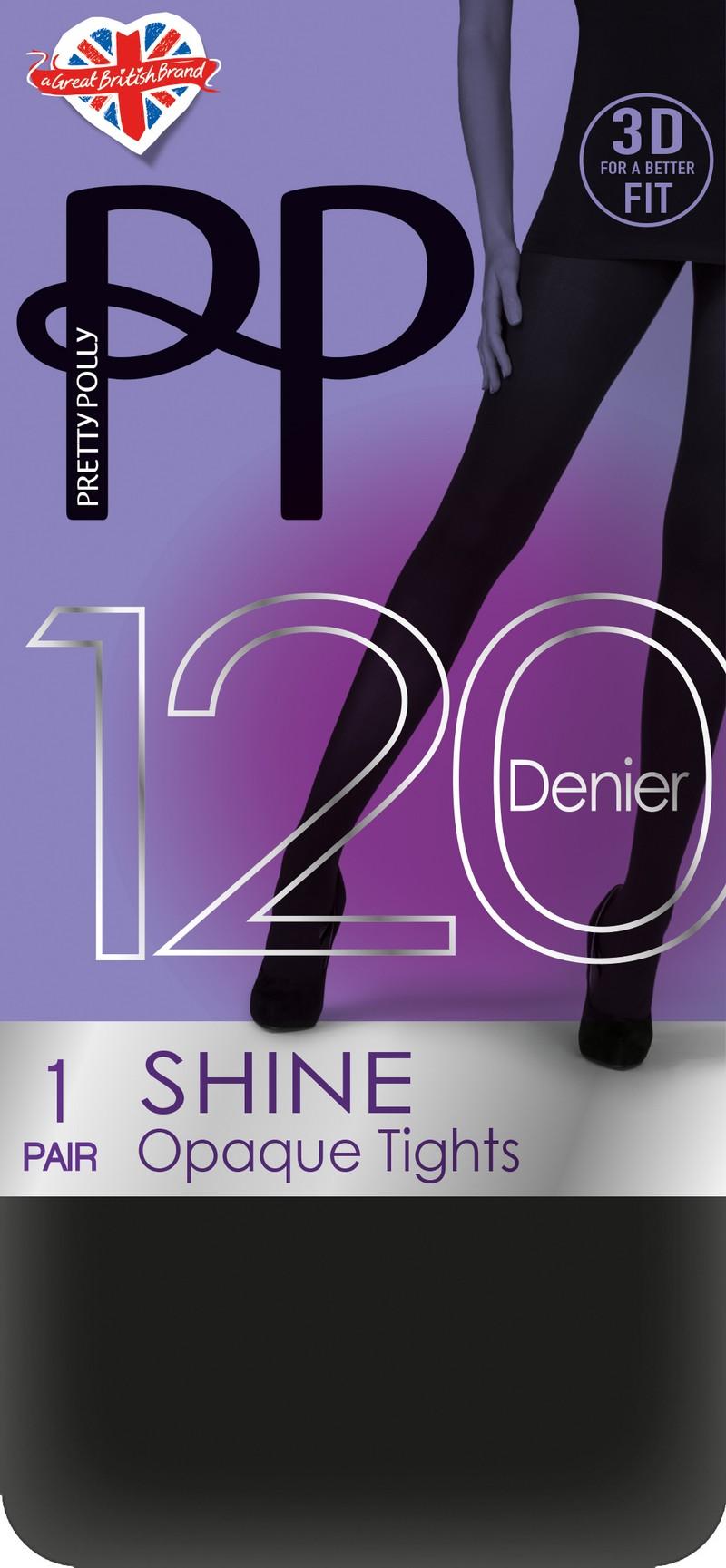 Kryjące, błyszczące rajstopy Shine Opaque 120 denier marki Pretty Polly
